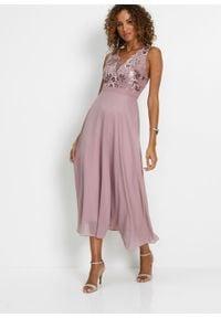 Sukienka szyfonowa z cekinami bonprix różowobrązowy. Okazja: na ślub cywilny, na wesele. Typ kołnierza: dekolt gorset. Kolor: różowy. Materiał: koronka, szyfon. Wzór: koronka. Typ sukienki: gorsetowe. Styl: elegancki