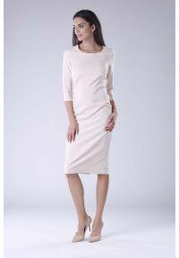 Beżowa sukienka Nommo z klasycznym kołnierzykiem, midi, klasyczna