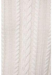 Premium by Jack&Jones - Sweter bawełniany. Kolor: beżowy. Materiał: bawełna. Długość rękawa: długi rękaw. Długość: długie. Wzór: ze splotem