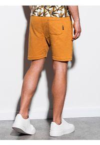 Żółte szorty Ombre Clothing krótkie, klasyczne, z aplikacjami #4