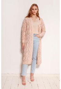 Lanti - Długi Ażurowy Kardigan bez Zapięcia - Różowy. Kolor: różowy. Materiał: bawełna, akryl. Długość: długie. Wzór: ażurowy