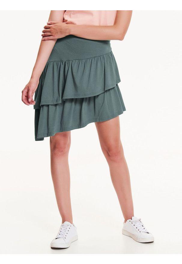 Zielona spódnica TROLL sportowa, w kolorowe wzory