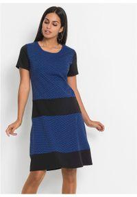 Sukienka z dżerseju bonprix czarno-niebieski z nadrukiem. Kolor: czarny. Materiał: jersey. Wzór: nadruk. Styl: elegancki