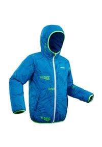 WEDZE - Kurtka narciarska WARM REVERSE 100 dla dzieci. Kolor: niebieski. Materiał: materiał. Wzór: nadruk. Sport: narciarstwo