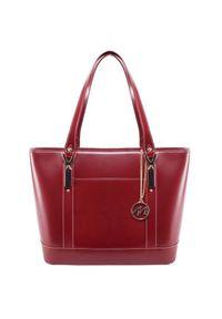 MCKLEIN - Ekskluzywna skórzana torebka damska czerwona Mcklein Arya. Kolor: czerwony. Wzór: paisley. Materiał: skórzane. Styl: biznesowy, klasyczny. Rodzaj torebki: na ramię #1