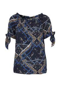 Niebieska bluzka Freequent z okrągłym kołnierzem, z krótkim rękawem, paisley, krótka