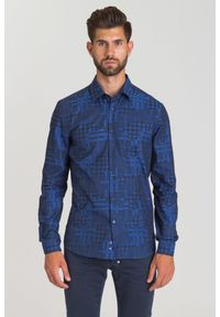Niebieska koszula Versace Collection biznesowa, na spotkanie biznesowe, na lato