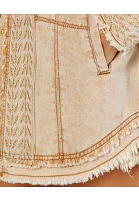 IXIAH - Koszula jeansowa z azteckim haftem. Kolor: beżowy. Materiał: jeans. Wzór: haft. Styl: klasyczny
