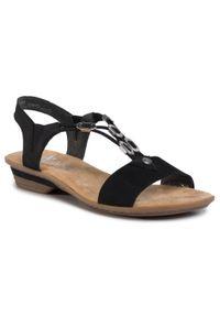 Czarne sandały Rieker z aplikacjami, na obcasie, na średnim obcasie
