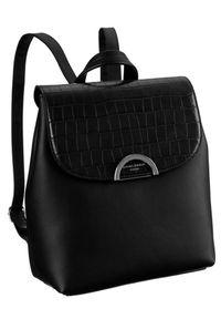 DAVID JONES - Plecak damski czarny David Jones 6606-2A BLACK. Kolor: czarny. Materiał: skóra ekologiczna. Wzór: aplikacja. Styl: elegancki