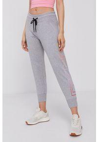 DKNY - Dkny - Spodnie. Kolor: szary. Materiał: dzianina. Wzór: nadruk