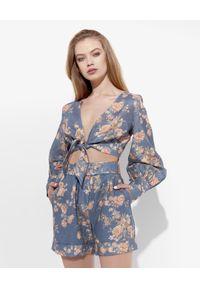 JENESEQUA - Lniana bluzka Marrakesh. Kolor: niebieski. Materiał: len. Długość rękawa: długi rękaw. Długość: długie. Wzór: kwiaty, nadruk