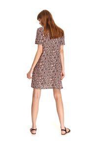 Różowa sukienka DRYWASH z krótkim rękawem, casualowa, prosta