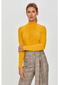 Żółty sweter Patrizia Pepe casualowy, z golfem, z długim rękawem, długi