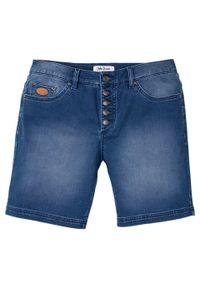 """Długie szorty dżinsowe ze stretchem Regular Fit bonprix niebieski """"bleached"""". Kolor: niebieski. Długość: długie"""