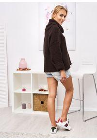 Czarny sweter LIGARI z golfem, długi