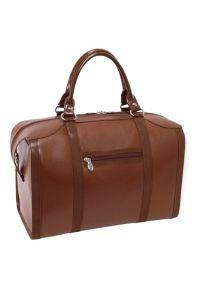 Brązowa torba na laptopa MCKLEIN w kolorowe wzory
