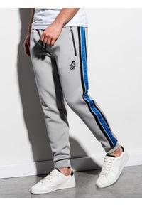Ombre Clothing - Spodnie męskie dresowe joggery P854 - szare - XL. Kolor: szary. Materiał: dresówka. Wzór: kolorowy, haft. Styl: retro