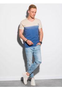 Ombre Clothing - T-shirt męski bawełniany S1380 - ciemnoniebieski - XXL. Kolor: niebieski. Materiał: bawełna. Sezon: lato