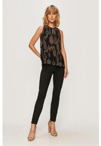 Czarna bluzka Desigual casualowa, bez rękawów, w kwiaty