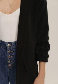 Renee - Czarna Marynarka Hysithise. Kolor: czarny. Materiał: jeans, dzianina. Długość: długie