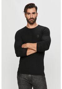 Czarna koszulka z długim rękawem Trussardi Jeans z okrągłym kołnierzem, klasyczna, na co dzień