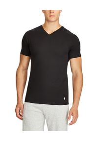 Czarny t-shirt Ralph Lauren polo, na co dzień