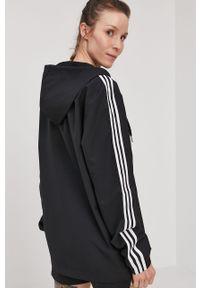 Czarna bluza rozpinana Adidas z aplikacjami, casualowa, z kapturem