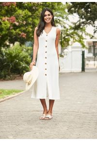 Letnia sukienka z guzikami bonprix biel wełny. Kolor: biały. Materiał: wełna. Długość rękawa: bez rękawów. Wzór: prążki. Sezon: lato. Długość: midi