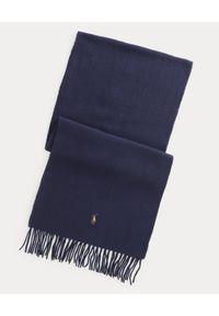 Ralph Lauren - RALPH LAUREN - Granatowy wełniany szalik z logo. Kolor: niebieski. Materiał: wełna. Wzór: haft
