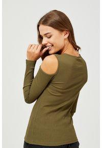 Zielona bluzka MOODO z okrągłym kołnierzem, z długim rękawem