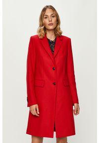 Czerwony płaszcz TOMMY HILFIGER casualowy, na co dzień, z klasycznym kołnierzykiem