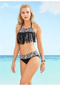 Bikini z frędzlami (2 części) bonprix czarno-biały. Kolor: czarny. Wzór: aplikacja