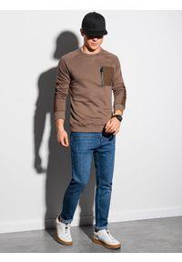 Ombre Clothing - Bluza męska bez kaptura B1151 - brązowa - XXL. Typ kołnierza: bez kaptura. Kolor: brązowy. Materiał: materiał, bawełna, dzianina, tkanina, poliester, jeans