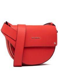 Karl Lagerfeld - Torebka KARL LAGERFELD - 211W3029 Tangerine. Kolor: czerwony. Wzór: aplikacja. Materiał: skórzane