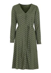 Happy Holly Sukienka z wiskozy w kropki Blake khaki Czarny female zielony/czarny 44/46. Okazja: na co dzień. Typ kołnierza: dekolt w serek. Kolor: wielokolorowy, zielony, czarny. Materiał: wiskoza. Wzór: kropki. Typ sukienki: proste. Styl: casual