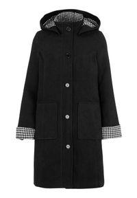 Cellbes Klasyczny płaszcz z kraciastymi detalami Czarny female czarny 50/52. Kolor: czarny. Materiał: wełna. Styl: klasyczny