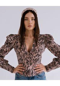 DOLLINA - Bluzka z bufiastymi rękawami Giava. Kolor: czarny. Materiał: jedwab, jeans, wiskoza. Wzór: aplikacja