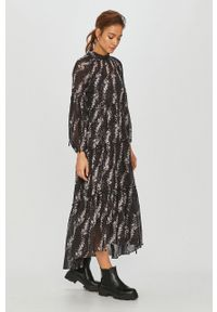 Czarna sukienka AllSaints w kwiaty, midi, ze stójką, casualowa