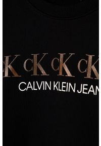 Czarna bluza Calvin Klein Jeans na co dzień, z nadrukiem, casualowa