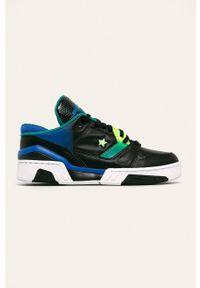 Czarne sneakersy Converse z cholewką, na średnim obcasie, z okrągłym noskiem