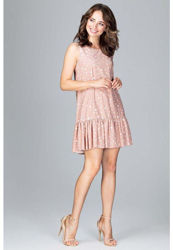 Beżowa sukienka Katrus w kropki