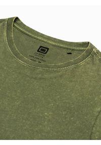Ombre Clothing - Longsleeve męski bez nadruku L131 - oliwkowy - XXL. Kolor: oliwkowy. Materiał: bawełna. Długość rękawa: długi rękaw #3