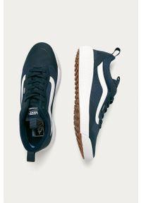 Niebieskie sneakersy Vans z okrągłym noskiem, z cholewką, na sznurówki