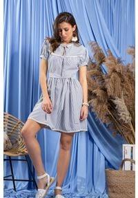 Fobya - Dziewczęca Sukienka w Granatowe Paseczki - Niebieska. Kolor: niebieski. Materiał: bawełna