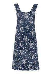 Cellbes Dżersejowa sukienka ze wzorem granatowy we wzory female niebieski/ze wzorem 62/64. Typ kołnierza: dekolt w serek. Kolor: niebieski. Materiał: jersey. Długość rękawa: na ramiączkach. Styl: elegancki