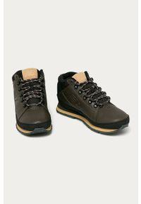 Brązowe sneakersy New Balance na sznurówki, z okrągłym noskiem, z cholewką