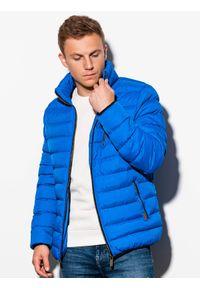 Niebieska kurtka Ombre Clothing na wiosnę, z kapturem