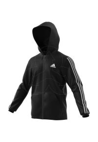 Czarna bluza z kapturem Adidas z aplikacjami