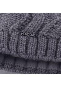 Szara czapka zimowa PaMaMi w prążki, elegancka